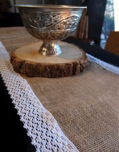 Burlap Table Runner with Cotton Lace Trim