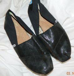 TOMS Classic Shiny Black Espadrilles Slip On Shoes W7 7  #Toms #Espadrilles #Casual