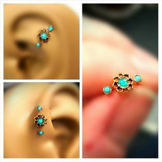 "Turquoise Opal Tragus Cartilage Earring Ring Forward Helix Triple Stud 16g 1/4"" 5/16"" Piercing Bar Barbell Sugical Steel Bioplast Jewelry by ABodyJewelry on Etsy https://www.etsy.com/listing/258798691/turquoise-opal-tragus-cartilage-earring"