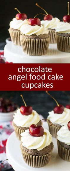 Chocolate angel food cupcakes with whipped cream frosting and a cherry ...