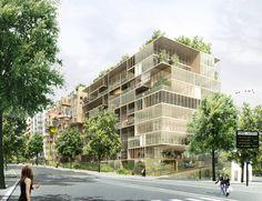 Green Architecture, Sustainable Architecture, Landscape Architecture, Architecture Design, Building Design, Building Facade, Green Facade, Social Housing, Masterplan
