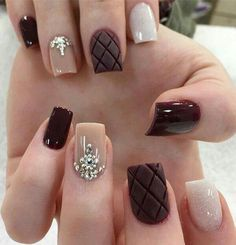 60 Stylish Nail Designs for Nail art is another huge fashion trend besides the stylish hairstyle, clothes and elegant makeup for women. Nowadays, there are many ways to have beautiful nails with bright colors, different patterns and styles. Trendy Nail Art, Stylish Nails, Gorgeous Nails, Pretty Nails, Burgundy Nails, Dark Nails, Super Nails, Winter Nails, Autumn Nails