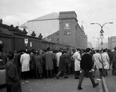 Crowd waiting to get into Ibrox stadium late 50s