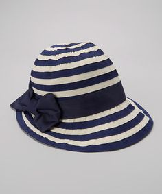 Loving this Blue & Beige Stripe Bow Sunhat on #zulily! #zulilyfinds