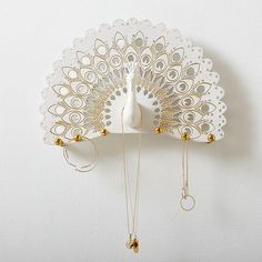 White and Gold Feather Jewelry Holder