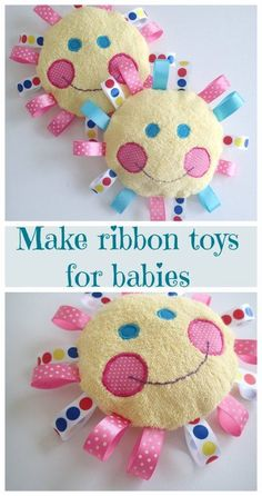 Quick, easy to make handmade baby toys. Made with soft and snuggly fabrics and shiny satin ribbon tags, babies and toddlers will love these handmade toys. #sew #baby #tag