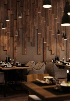 Textures, lighting, seating, and more, Wood Restaurants can easily inspire the design of your person Decoration Restaurant, Deco Restaurant, Luxury Restaurant, Restaurant Lighting, Modern Restaurant, Restaurant Recipes, Coffee Shop Design, Cafe Design, House Design