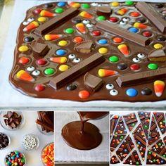 caramelo y chocolate Halloween Snacks, Halloween Bark, Fall Snacks, Halloween Chocolate, Halloween Goodies, Snacks Kids, Homemade Halloween, Funny Halloween, Chocolate Bark