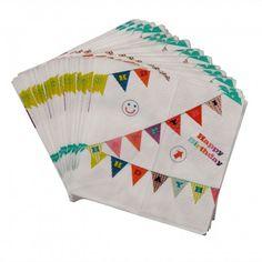 """Set van 40 servetten voor een cool feestje. Op elke servet staat een vlaggenlijn geprint met de tekst """"Happy Birthday"""" !"""