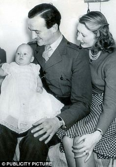 """David Niven, Wife Primmie and son. She died at Tyrone Power's home during a dinner party while they were playing """"sardines"""" (a hide and seek type) game. Lights were off and she opened the door that she thought was a powder room but it was the basement and fell down the stone steps. David Niven stated that he thought about suicide as a result but he had 2 small sons to raise."""