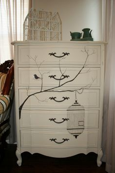 Cream dresser with bird cage and bird design, anew nature, upcycled vintage furniture