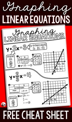 I just added a free math cheat sheet for graphing linear equations in slope-intercept form to my math cheat sheets post. This PDF printable can be given to students for their math notebooks or enlarged to make a math anchor chart (directions are inside the PDF). Math Cheat Sheet, Cheat Sheets, Teaching Math, Teaching Ideas, Algebra 2, Primary Maths, 7th Grade Math, Math Notebooks, Basic Math