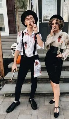 Costume Halloween, Scary Couples Halloween Costumes, Best Couples Costumes, Bonnie And Clyde Halloween Costume, Halloween Diy, Halloween Recipe, Halloween Office, Halloween Decorations, Halloween Nails