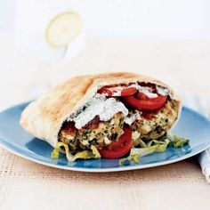 Tangy feta cheese and fresh mint dress up ground chicken in this flavorful and fast Greek Chicken Burger recipe.  #vegetables ##protein #dairy #myplate