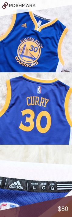 Stephen Curry 3️⃣0️⃣Golden State Jersey Boys Large About this item Features * 100% Polyester * Screen Printed Name & Number With Snaps At The Shoulder And Crotch. * Made By Adidas The Official Supplier Of The Nba * Turn Garment Inside Out Machine Wash Cold, Separately Gentle Cycle Use Only Non-Chlorine Bleach When Necessary. Tumble Dry Low Product information Large (14/16) I wore this once to school for a homecoming theme game day! If you have anymore questions feel free to ask! adidas…