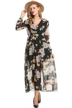 461cfda7338d3 Maternity Outfits - best maternity dresses : ODlover Women Chiffon VNeck  Long Sleeve Slit Floral Long