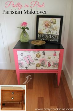 Pretty in Pink Parisian Makeover - pretty in pink -#chalkpaint #artsychicksrule MOD PODGE pretty fabric to the drawer fronts!