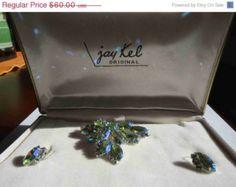 20% OFF SALE JAY Kel Original Demi Parure Period Aurora Borealis Brooch & Earrings