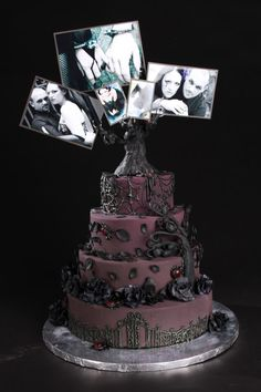 Gothic Wedding Cake with Pictures Copyright Heather Bracy 2011, Gothic Wedding Cake, dark purple, chocolate,