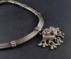 Rajasthan silver old pendant necklace - indian jewelry