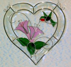 Hummingbird Crystal Heart Stained Glass