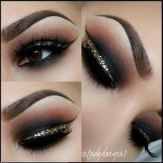 black makeup gold eyeliner