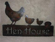 Hen House- Metal Art Metal Sign. $25.00, via Etsy.