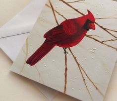 Winter holiday cards watercolor red cardinal bird in by DottiesPhD, $22.00