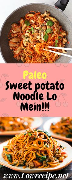 Paleo Sweet potato Noodle Lo Mein!!! - Low Recipe