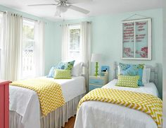 Pastel Beach Cottage Bedroom: http://beachblissliving.com/beach-cottage-remodel/ Blue, yellow, with touches of green and pink.