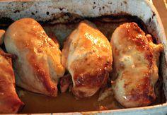 Peitos de frango assados, com recheio de queijo e presunto!!