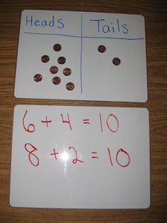 Heads and Tails Game - Great for working with addition!  (Free and simple idea.)