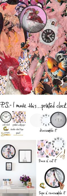 Calling all analog girls living in a digital world: put a little boom in your tick tick with this wall clock makeover! We gave a plain old timepiece a graphic upgrade with some rooster print wallpaper from Voutsa; it adds major face value and instantly wakes up any wall.