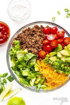Easy Healthy Taco Salad Recipe with Ground Beef | Wholesome Yum Easy Taco Salad Recipe, Low Carb Taco Salad, Taco Salad Bowls, Taco Salad Recipes, Healthy Salad Recipes, Healthy Dinner Recipes, Cooking Recipes, Healthy Meals, Keto Recipes