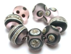 Handmade Silvered Ivory Lampwork Beads Rose Pink by ArcadiaBeads, $35.00