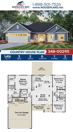 A darling Country home design, Plan 348-00295 features 1,416 sq. ft., 3 bedrooms, 2 bathrooms, split bedrooms, a kitchen island, an open floor plan, and a 2 car garage. #country #architecture #houseplans #housedesign #homedesign #homedesigns #architecturalplans #newconstruction #floorplans #dreamhome #dreamhouseplans #abhouseplans #besthouseplans #newhome #newhouse #homesweethome #buildingahome #buildahome #residentialplans #residentialhome Country House Design, Country House Plans, Best House Plans, Dream House Plans, Building Section, Building A House, Floor Plan Drawing, Dormer Windows, Open Floor