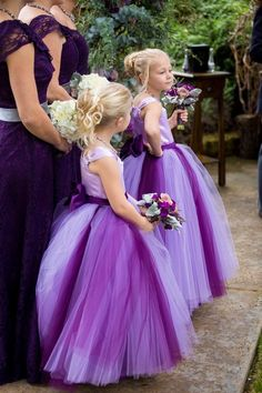Queenwedding 2015 Ball Gown Purple Flower Girl Dresses Gowns Tulle Akle-length Flower Girl Dress Sashes Open Back Custom Made SX253
