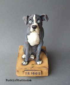Custom pet sculpture-- love the pup's one lifted ear