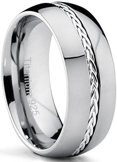 8MM Dome Titanium Men's Ring Band with Braided Silver Inlay, Comfort Fit, High Polish