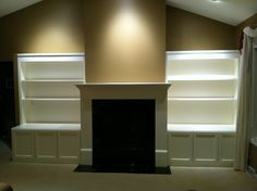 Build-In Media Cabinets, Shelving & Fireplace Mantel Surround Fireplace Mantel Surrounds, Fireplace Ideas, Fireplace Bookshelves, Bookcases, Cabin Office, Make Build, Cabinet Shelving, Will Smith, My House