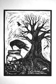 Crow and mason jar - Linocut print by redhydrant on Etsy https://www.etsy.com/listing/223877512/crow-and-mason-jar-linocut-print