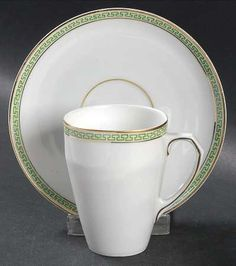 Apilco Green and Gold Bistroware Flat Cup & Saucer Set   China ...