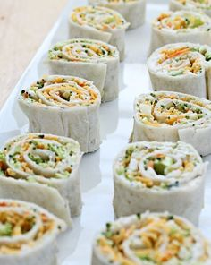 Vegetable Tortilla Roll Ups - impress your guests with these delicious finger foods at your next party.