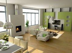 super trendige limegrüne Wand und schönes Design im Wohnzimmer