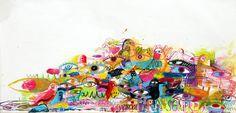"Pássaros do Amor (para Sempre)   2015   acrylic, gesso, crayon, inks on linen. 58""w x 28""h."