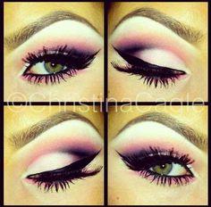 Eye make up pink black smokey