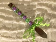 Jeweled Embellished Cheese Knife / Butter Knife, has been embellished with Lilac Purple and LimeGreen Glistened Beads. Hostess Gift. by AngelBellaCreations on Etsy