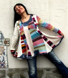 M-XL Crazy striped and denim super patchwork recycled sweater
