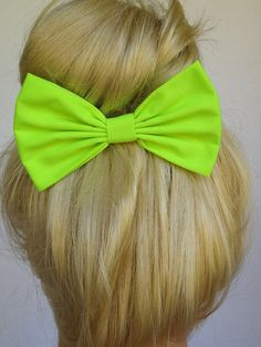 Neon+Green+Hair+Bow+Clip+Neon+Green+Hair+bow+by+CutieCuteBows,+$4.99