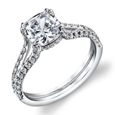 OLIVIA--Delicate French pave split shank engagement ring with an extra bit of sparkle on the profile seat